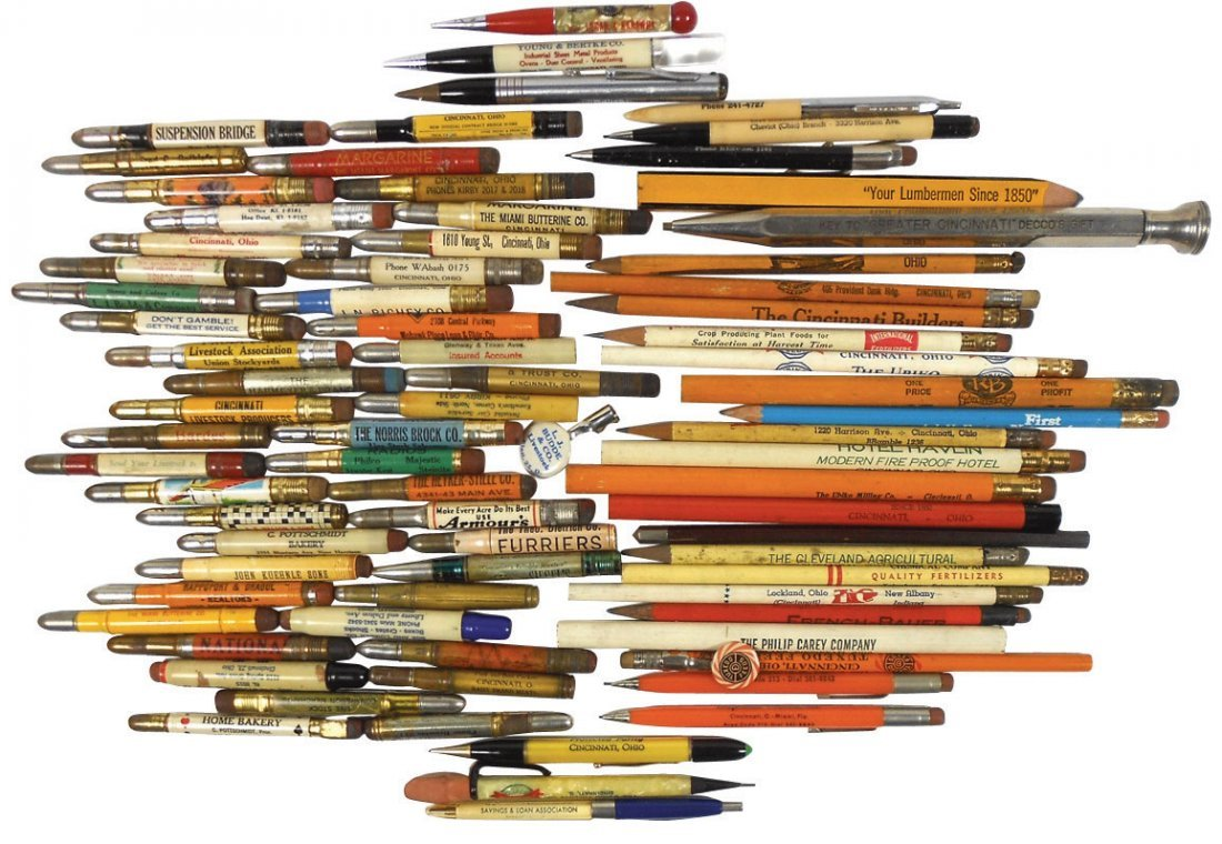 Advertising pencils (approx 85), from Cinc businesses,