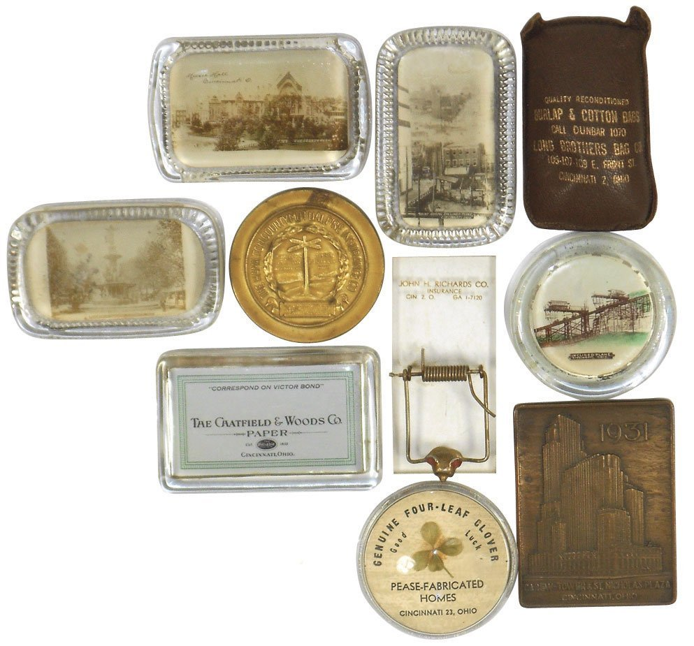Advertising paper weights (10), from Cinc businesses, C