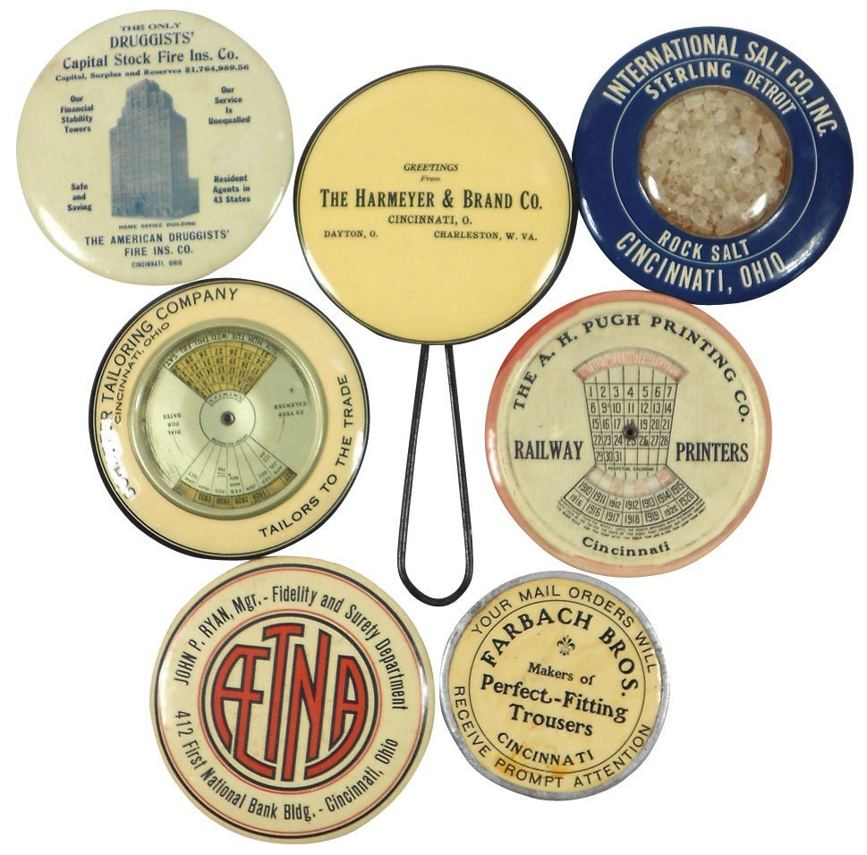Advertising pocket mirrors & paperweight (7), celluloid