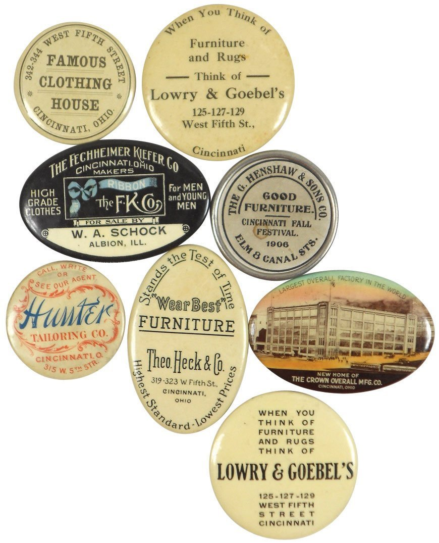 Advertising pocket mirrors (8), from Cinc businesses, L