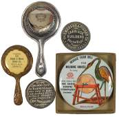 Advertising pocket mirrors (5), from Cinc businesses, O