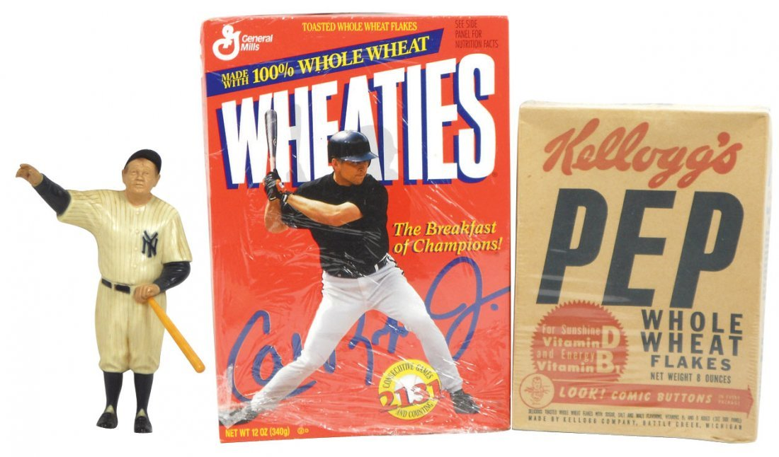 Baseball & Superman items (3), 2 cereal boxes, Kellogg'