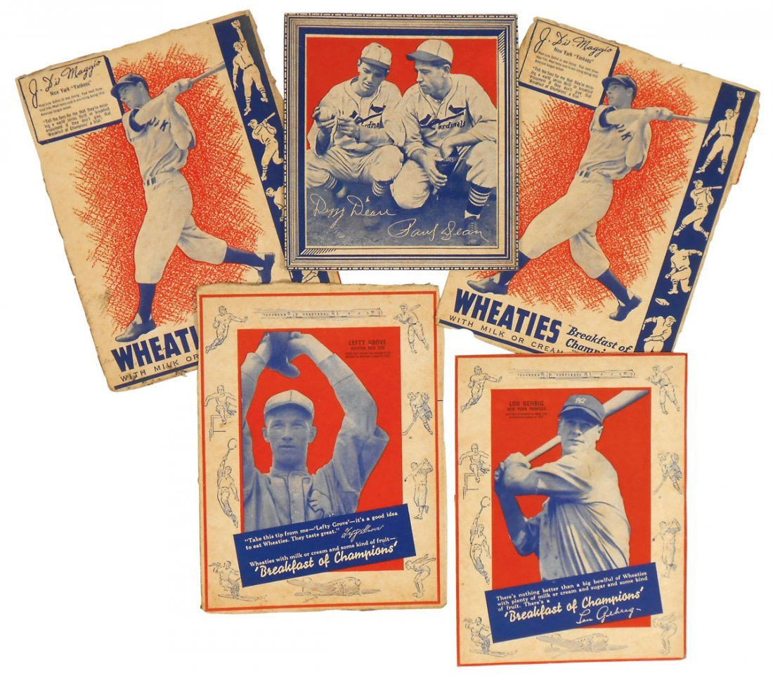 "Baseball cards (5) from Wheaties ""Breakfast of Champion"