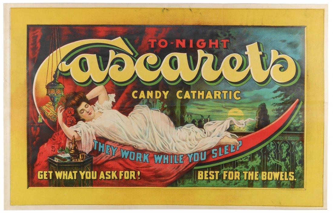 "Advertising sign, Cascarets Candy Cathartic, ""They Work"