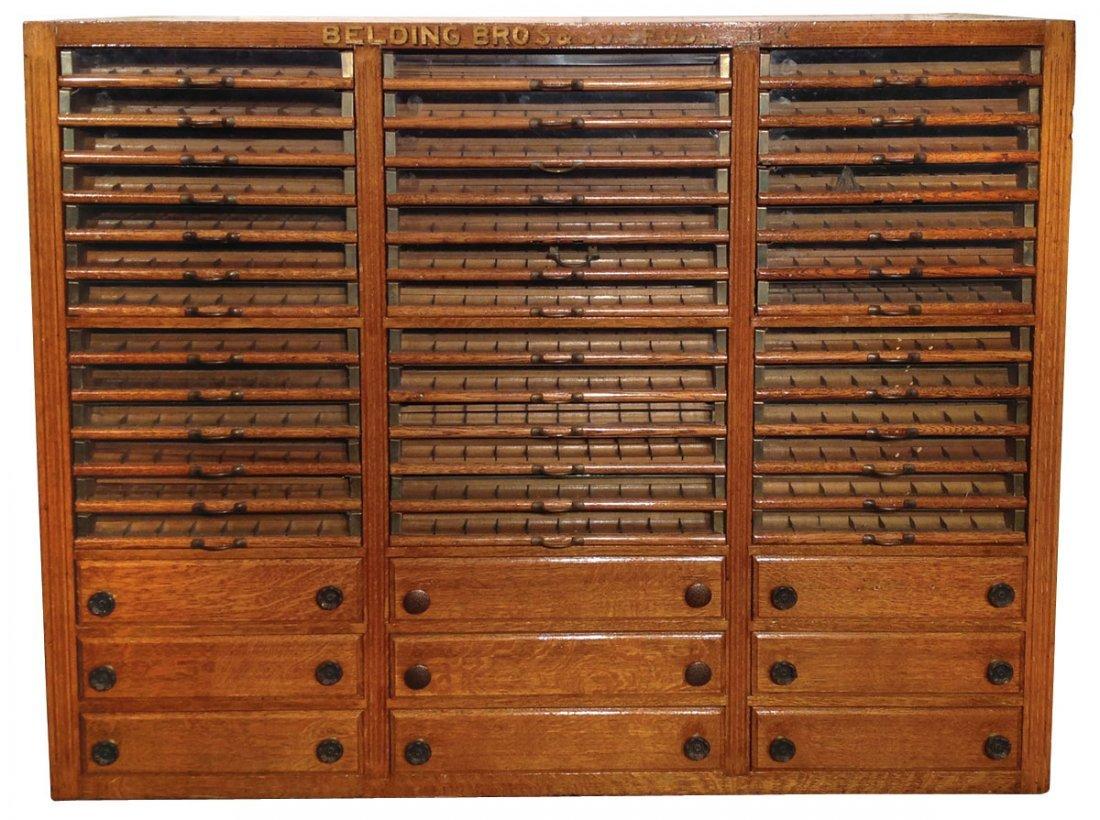 Spool cabinet, Belding Bros. Spool Silk, large oak 3-co