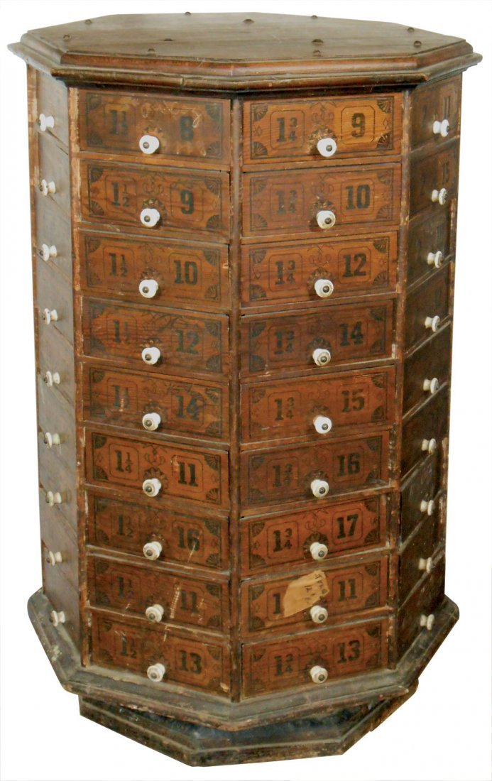 Country store nut & bolt cabinet, octagonal 72 pie-shap