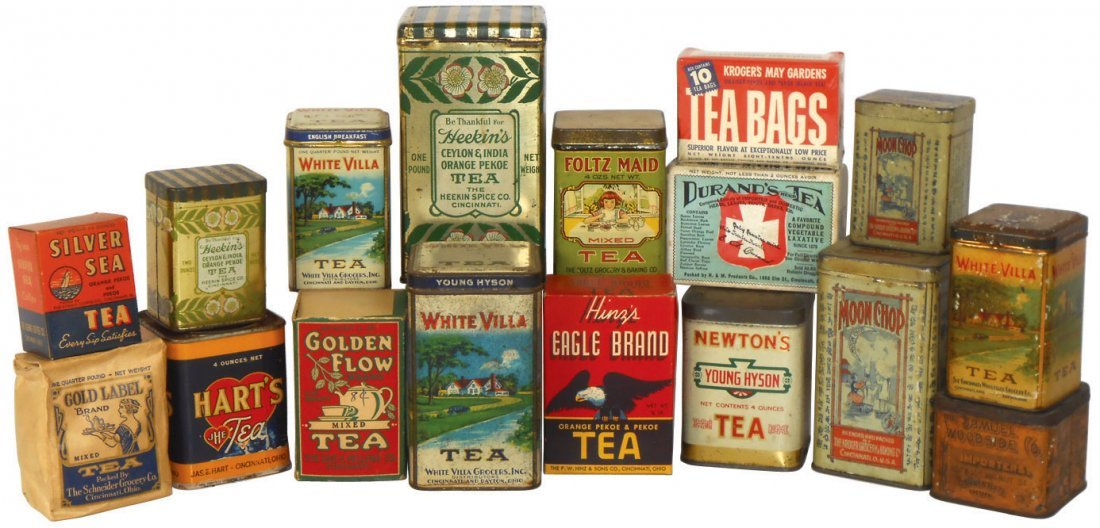 Country store shelf stock, (16) tea tins & boxes, all C