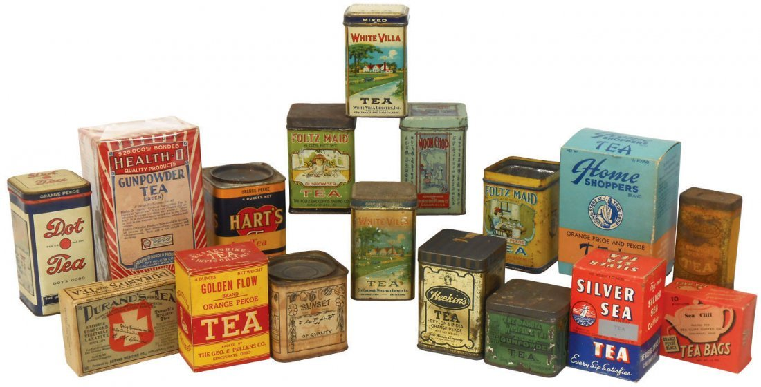 Country store shelf stock, (17) tea tins & boxes, all C