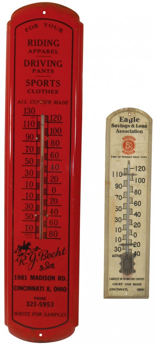 Advertising thermometers (2), R. J. Becht & Son-Cinc Ri