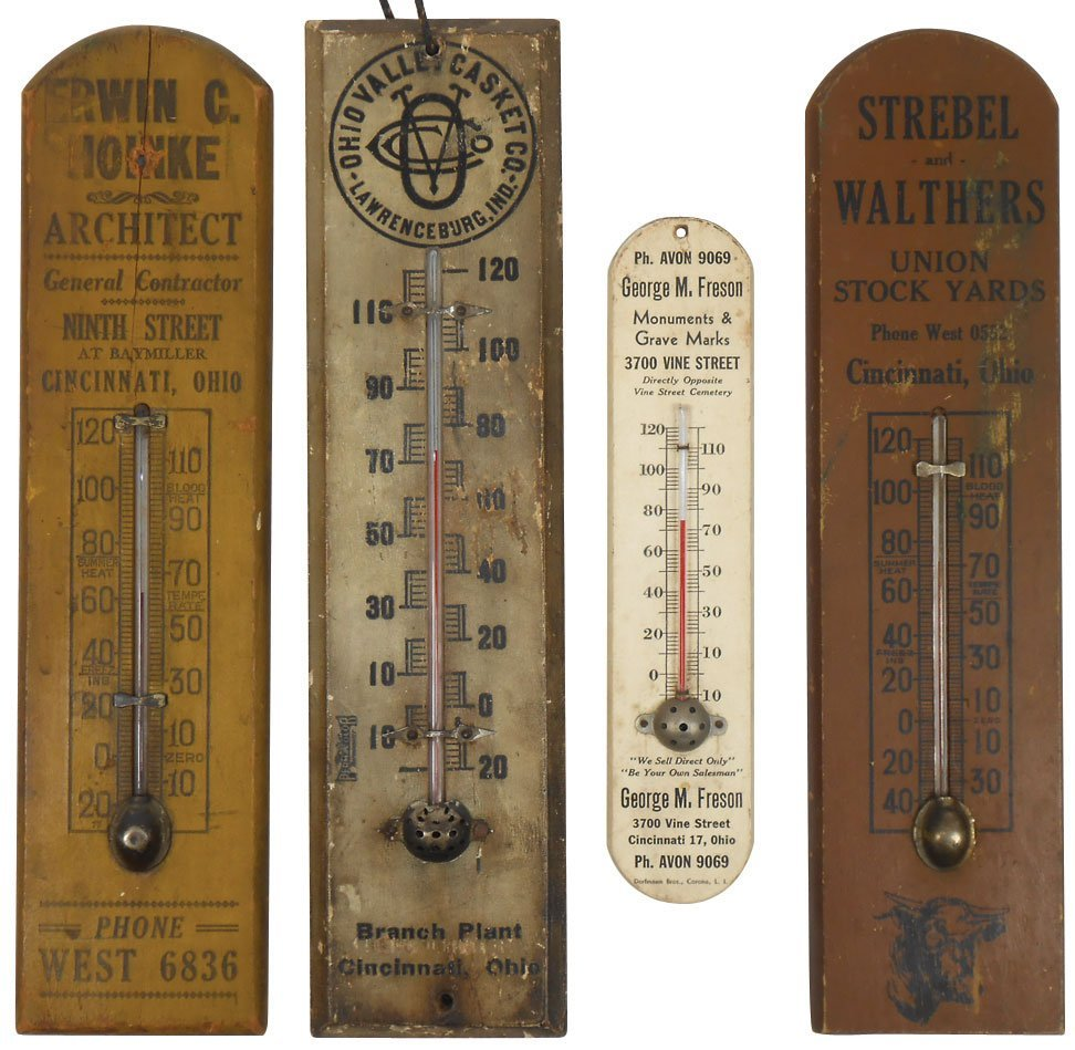 Advertising thermometers from Cinc businesses (4), incl