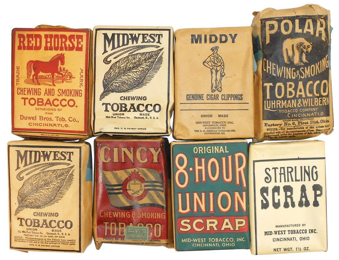 Tobacco items (15), pouches from Cinc businesses incl M