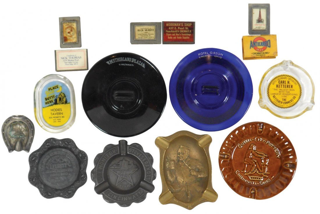 Advertising ashtrays & boxed match holders (15), from C