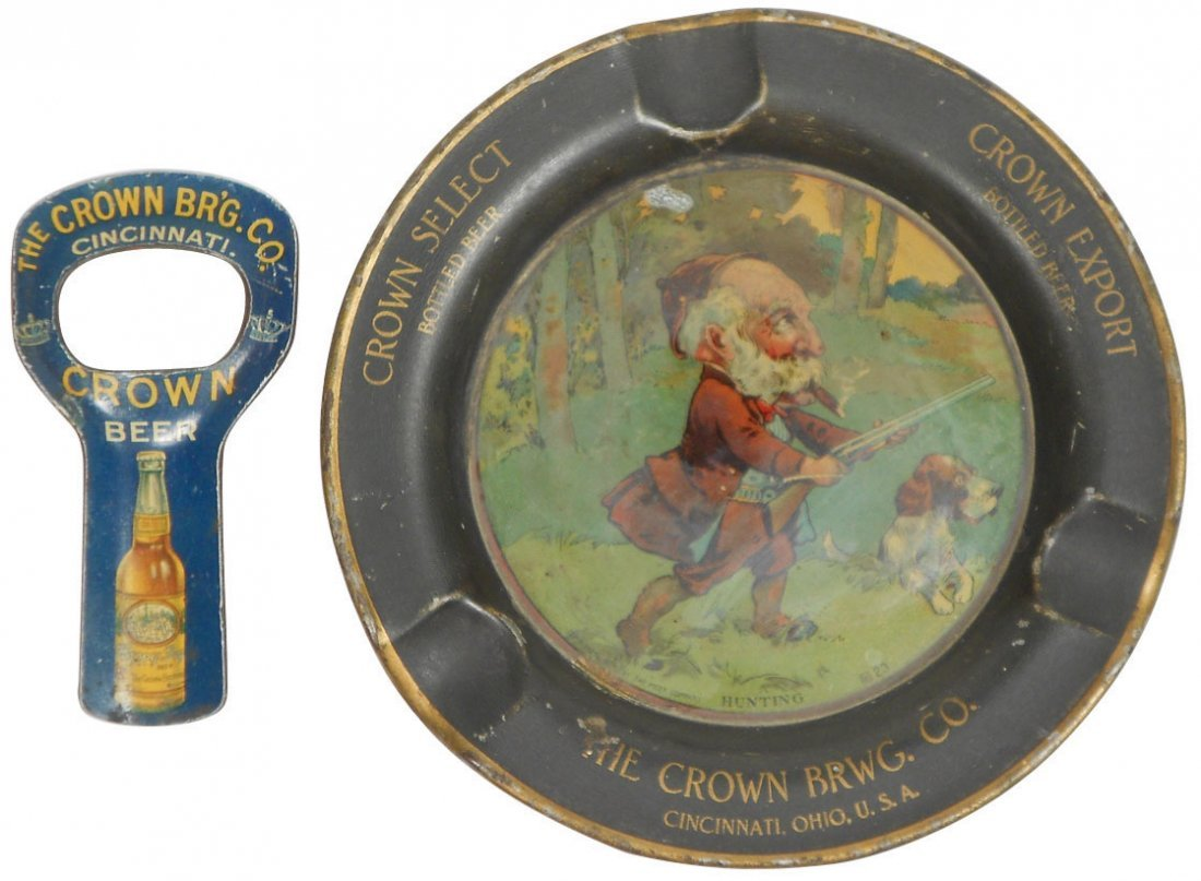 Advertising ashtray & opener from Crown Brewing Co.-Cin