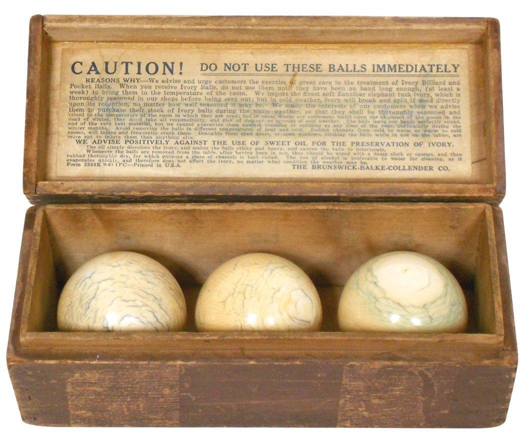 Ivory billiard balls (3) in Brunswick Balke Collender d