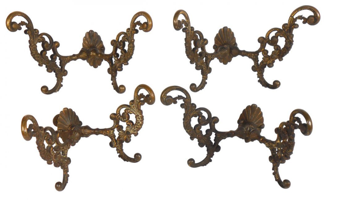 Victorian coat hooks (4), fancy cast brass double hooks