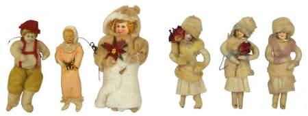 Christmas tree ornaments 6 spun cotton  crepe paper