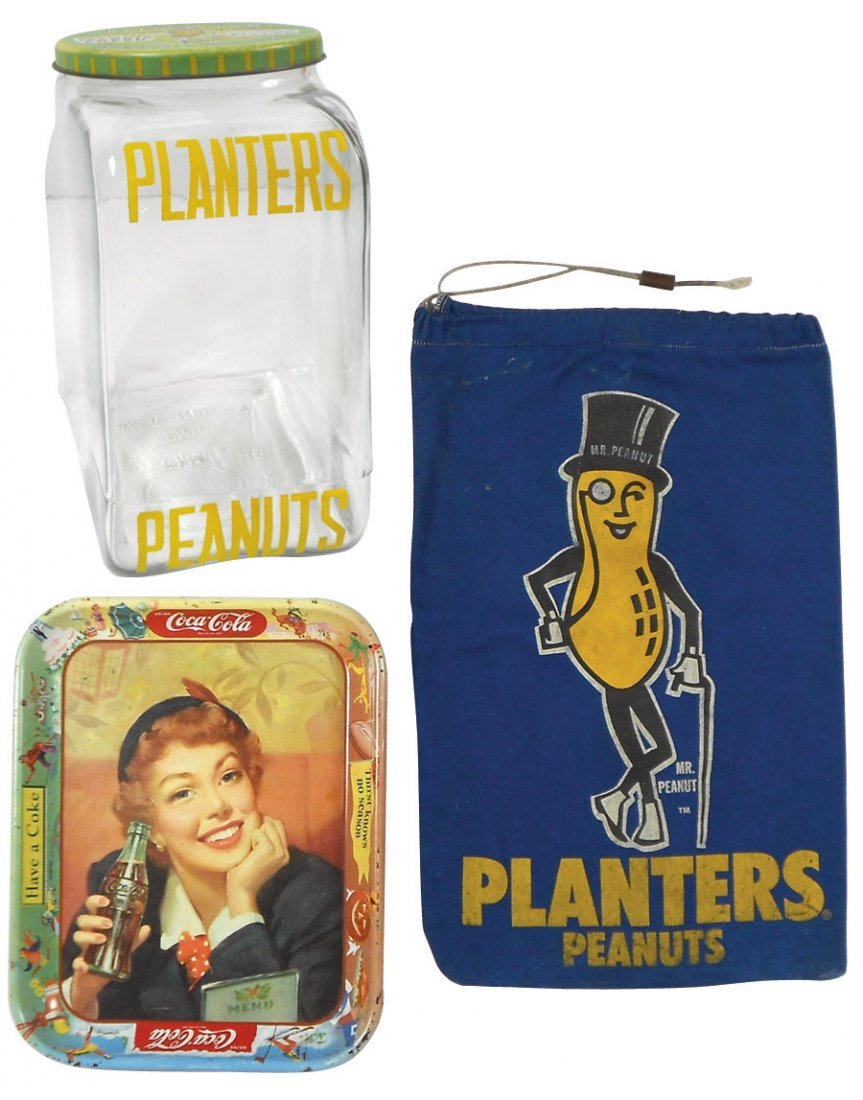 Advertising items (3), glass Planters Peanuts streamlin