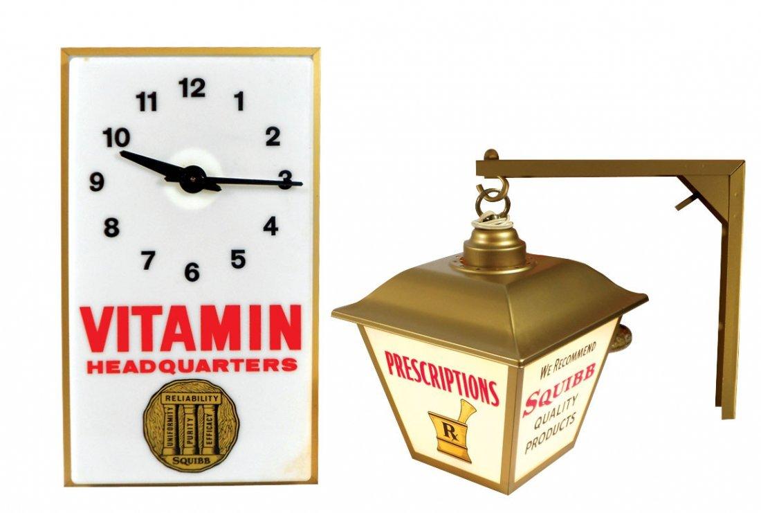 Drug store, Squibb Vitamin clock & hanging light, clock