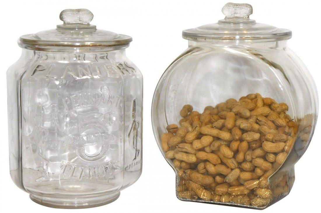 Peanut jars (2), Planters, fully embossed 8-sided jar