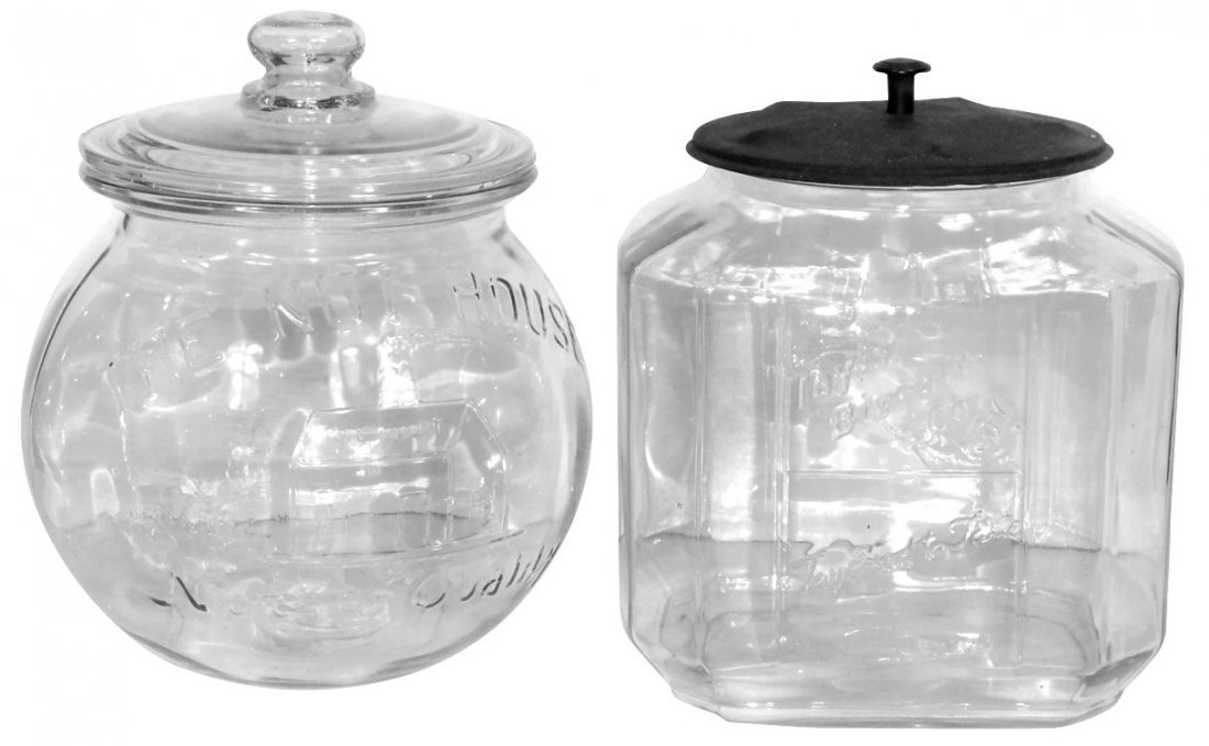Peanut & biscuit jars (2), The Nut House, embossed
