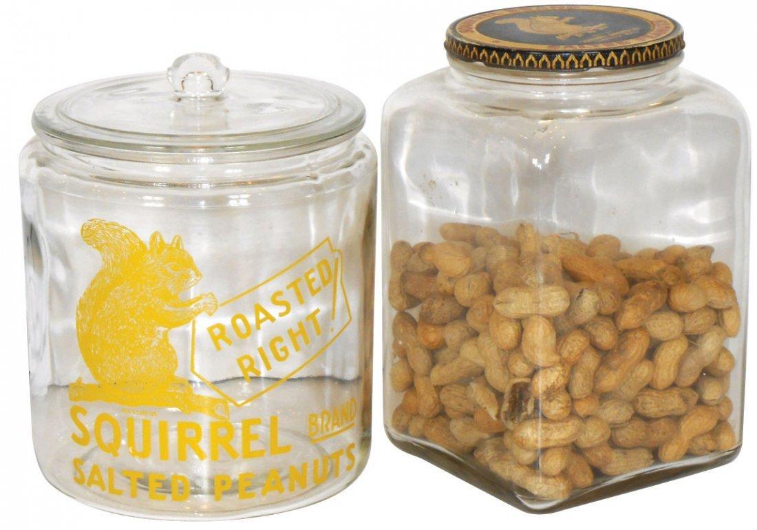 Peanut jars (2), Squirrel Brand Salted Peanuts, one