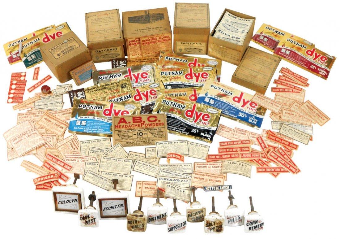 Drug Store items, lg lot of early pharmacy bottle