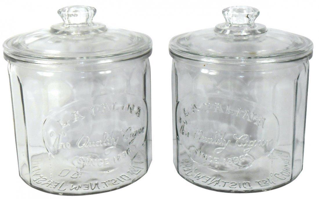 Cigar jars (2), La Palina embossed glass jars in Exc