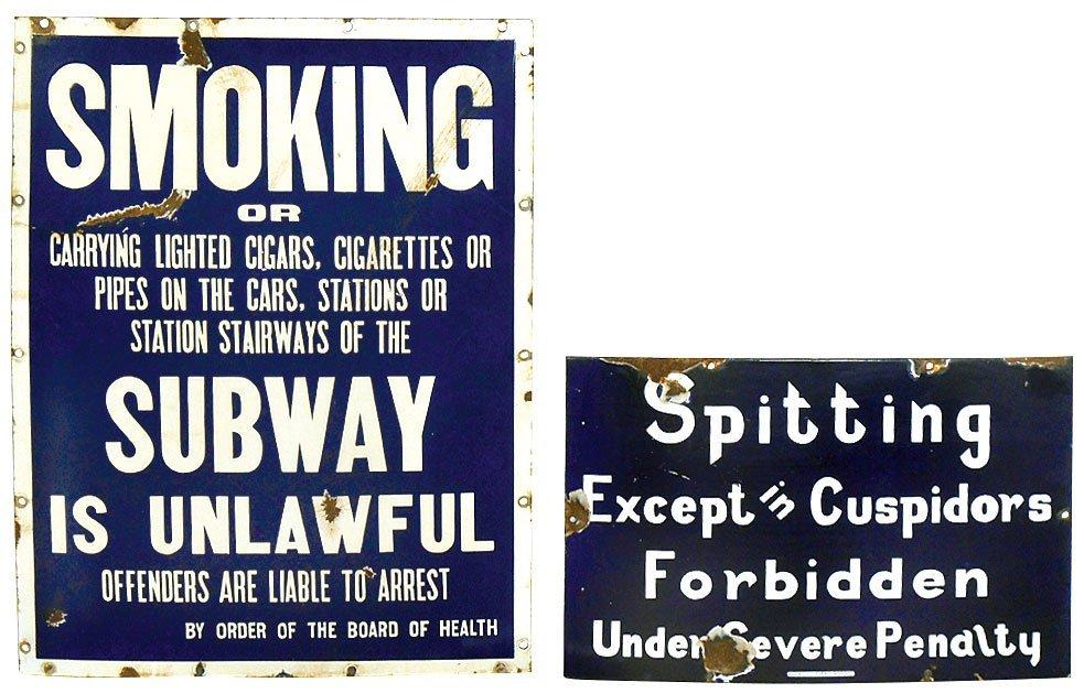 Smoking signs (2), No Smoking or Spitting, blue & white