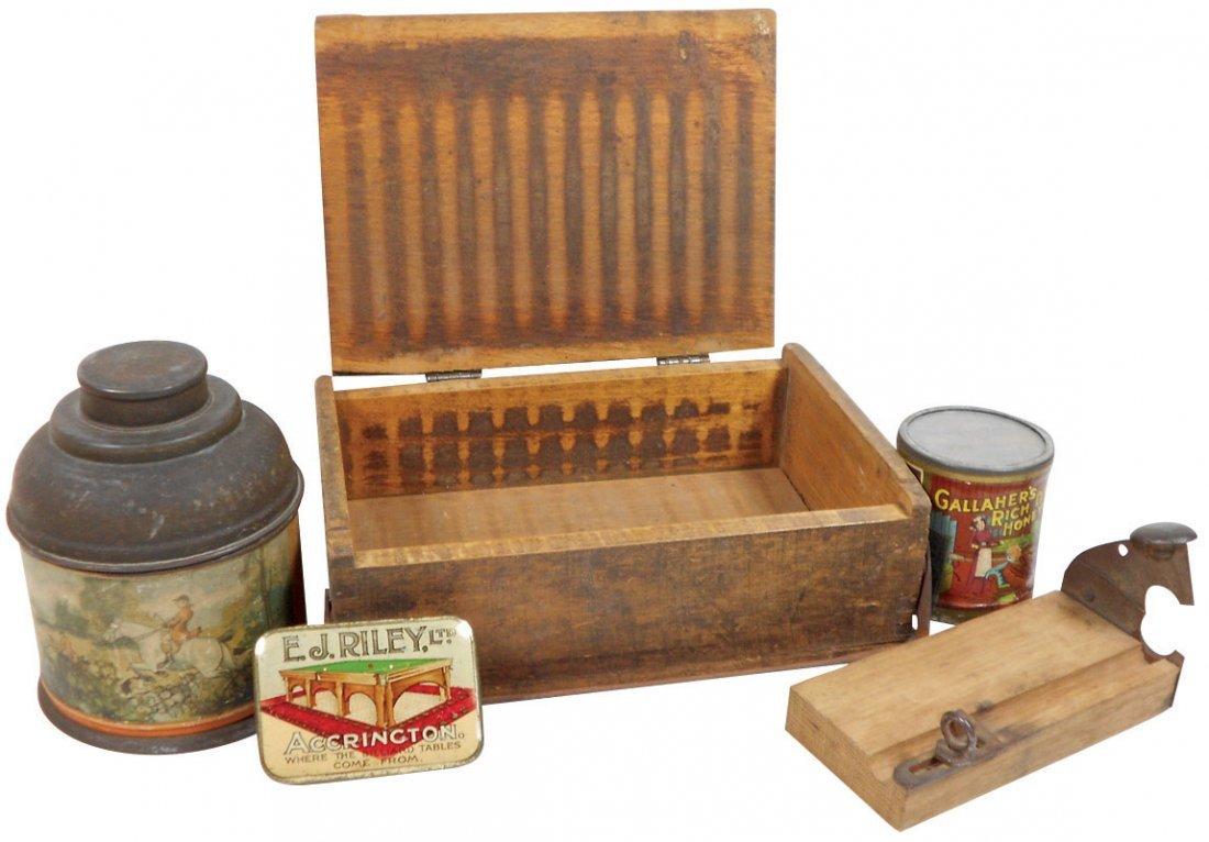 Tobacco tins, cigar cutter & dovetailed wood cigar box