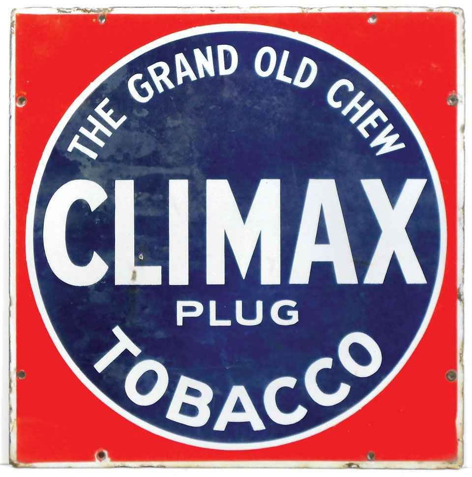 """Tobacco sign, Climax Plug Tobacco, porcelain, """"The"""
