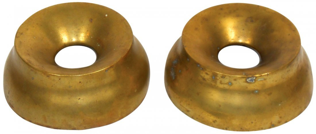 Tobacco spittoon covers (2), heavy brass, Good cond,
