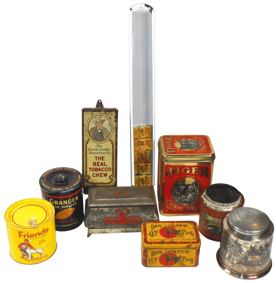 Tobacco tins (9), Tiger Chewing Tobacco 5 Cent pkgs,