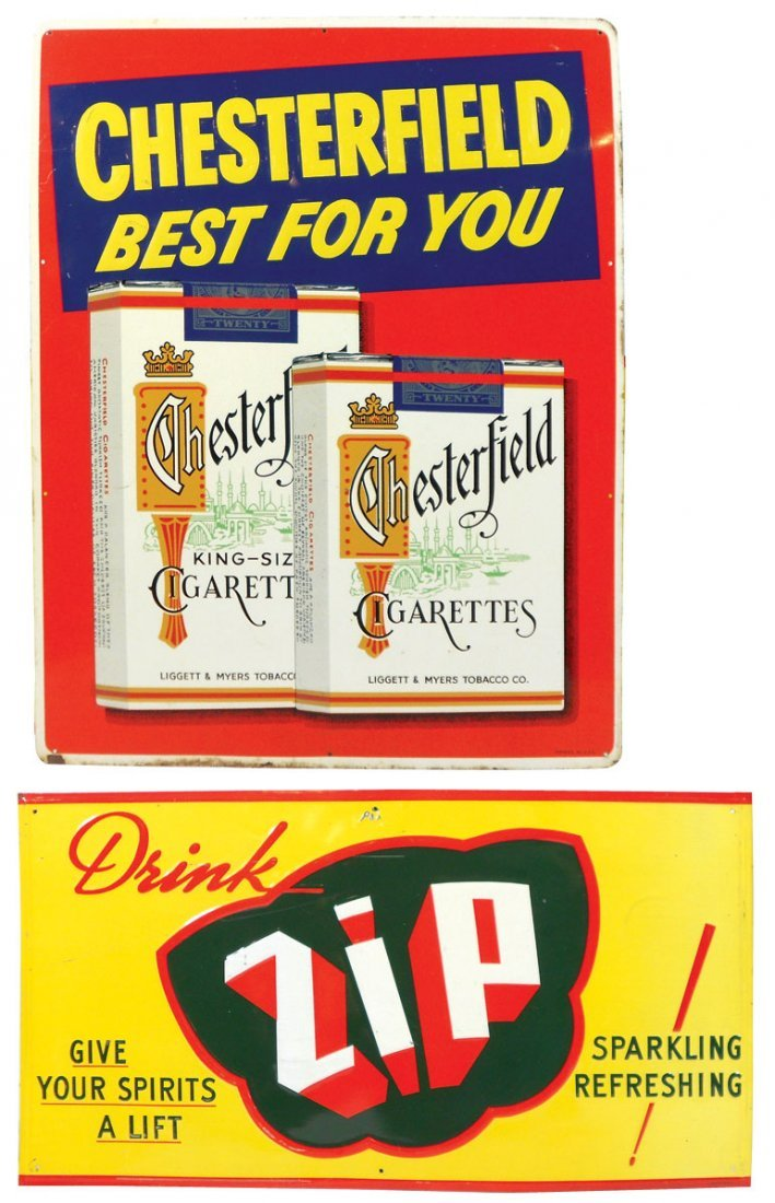 Advertising signs (2), Chesterfield Cigarettes & Drink
