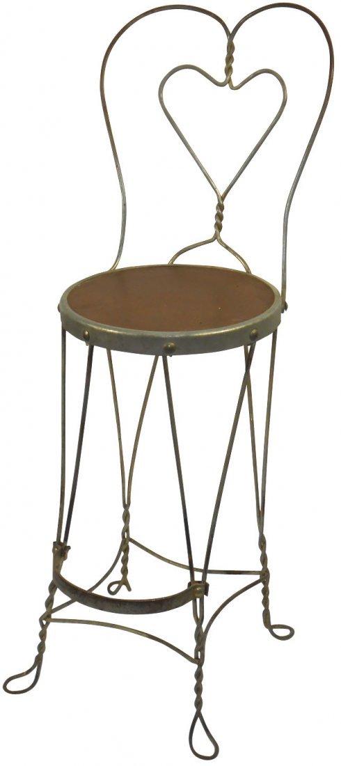 Soda fountain stool, wire w/heart shaped back & fiber