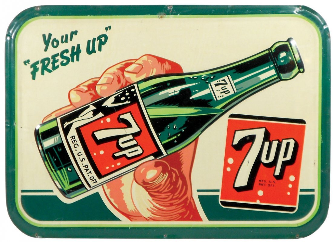 Soda fountain sign, 7Up Your Fresh Up, self-framed