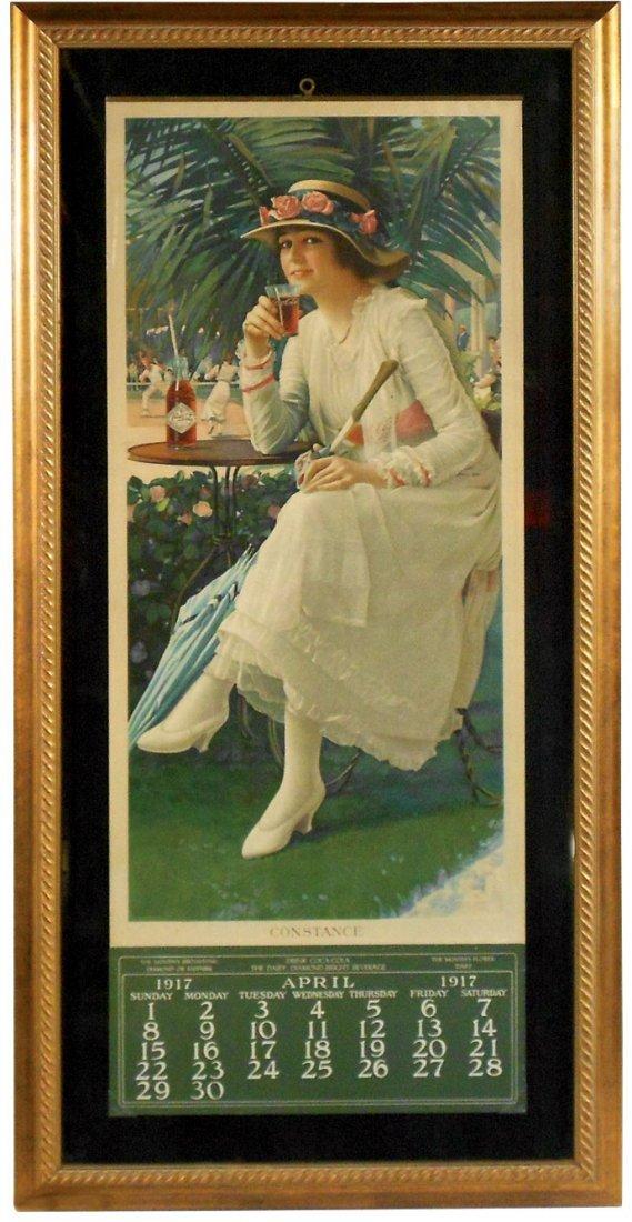 """Coca-Cola calendar, c.1917, """"Constance"""", April pad,"""
