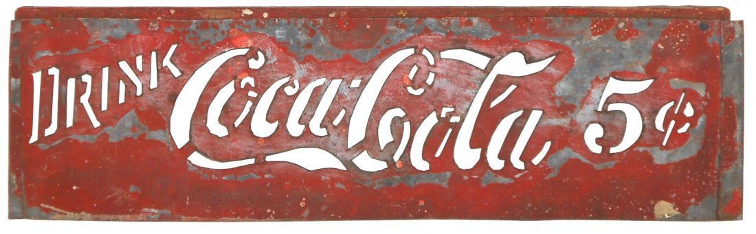 Coca-Cola stencil, wood & metal, used for painting