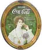 "Coca-Cola serving tray, c.1906, ""Juanita"" w/glass,"