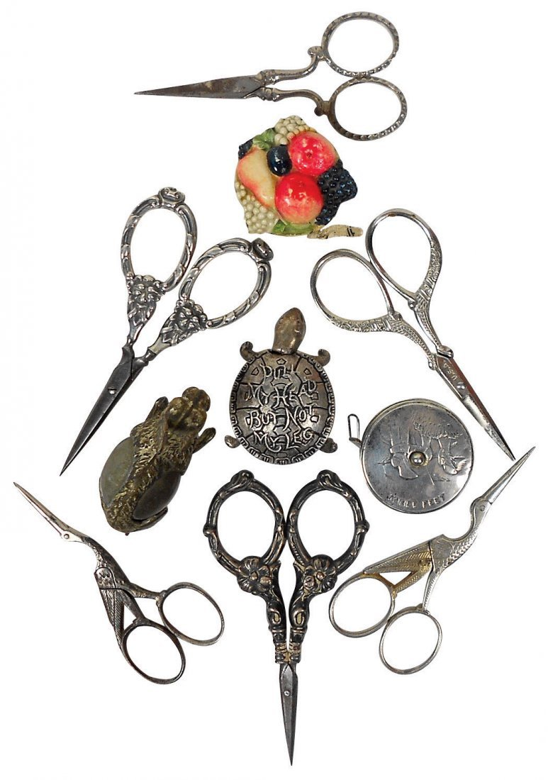 Sewing tools (10), 6 ornate embroidery scissors (1