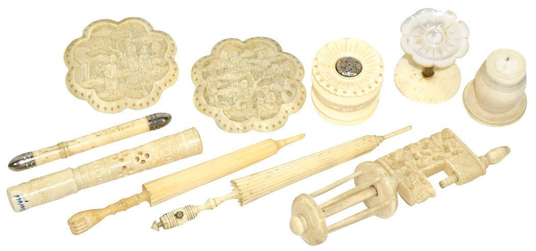 Sewing tools (10), ivory sewing clamp, carved ivory &