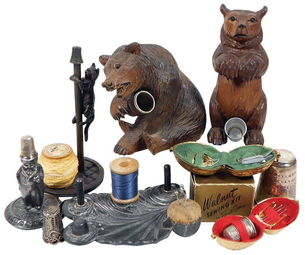 Sewing tools (8), Black Forest carved wood bear thimble