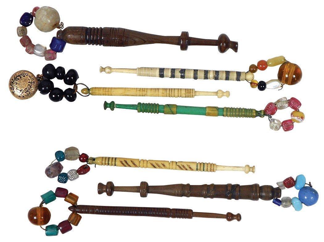 Sewing tools (9), bone lace bobbins, wood, ivory &