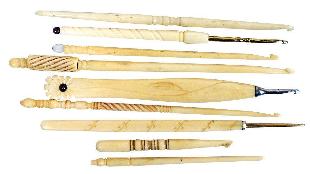 Crochet hooks (9), ornate ivory or bone w/detailing,