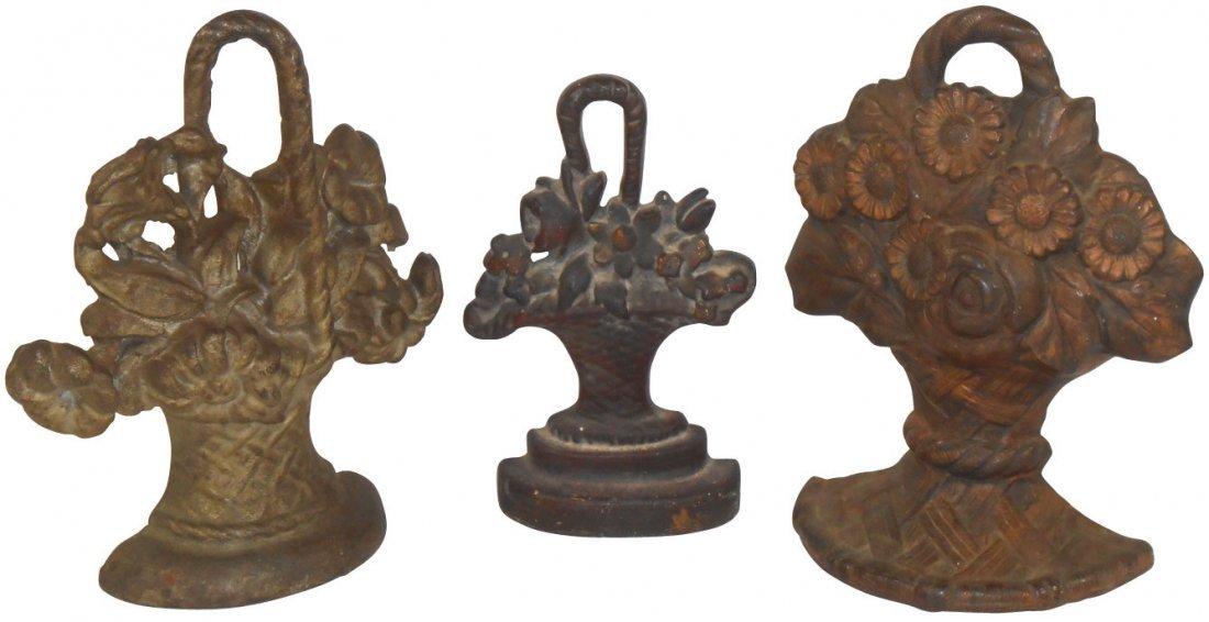 Cast iron door stops (3), flower baskets, all VG cond