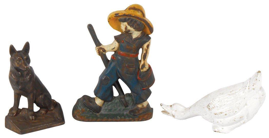 Doorstops (3), painted cast iron gardener, goose & dog,
