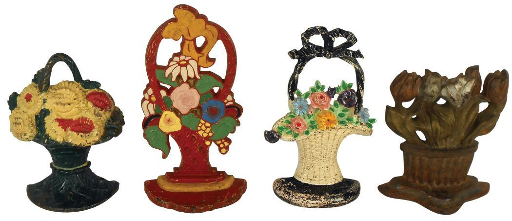 Doorstops (4), painted cast iron floral bouquets in