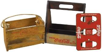 Coca-Cola bottle carriers (3), painted wood w/metal