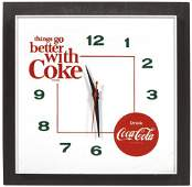 """Coca-Cola Clock, """"things go better with Coke"""" white"""