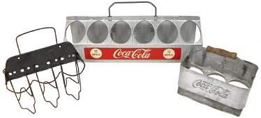 Coca-Cola bottle carriers (3), 2 stamped 6-pks & 12-pk