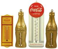 Coca-Cola metal thermometers (4), embossed yellow & red